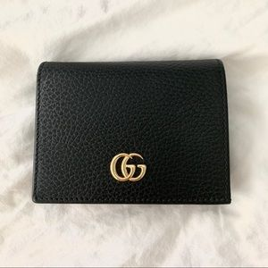 Gucci leather card case wallet black